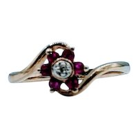 Unique Ruby Flower Ring