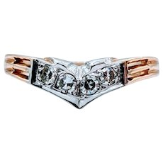 "Vintage .10ctw Diamond ""V"" Shaped Ring"