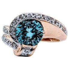 8mm Blue Zircon and Diamond Ring