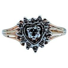 Gorgeous 0.15ctw Heart Halo Diamond Ring