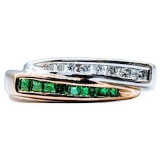 Emerald and Diamond Bypass Ring Two-Tone
