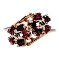 Vintage Ruby & Diamond Flower Ring