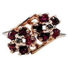 Vintage Ruby & Diamond Flower Ring