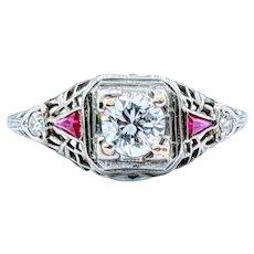 Stunning 18k 1920s .40ct Diamond and Ruby Ring