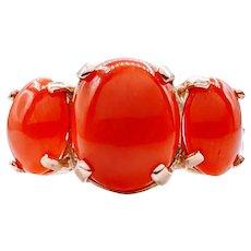 Vintage 3 Stone Natural Coral Cabochon Ring