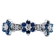 Floral Sapphire & Diamond Ring