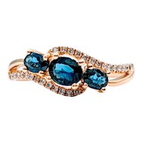 3-Stone Sapphire Ring with Diamond Accents