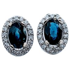 Natural Sapphire and Diamond Halo Earrings
