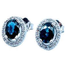 Stunning Sapphire & Diamond Halo Earrings