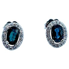 Gorgeous 1.10ctw Deep Blue Sapphire & Diamond Stud Earrings