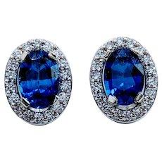 Royal Blue Oval Sapphire and Diamond Earrings