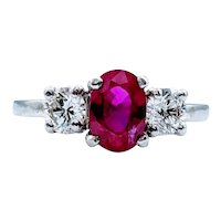 **Weekend Sale Item** Platinum 1.05ct Ruby & Diamond Three Stone Ring