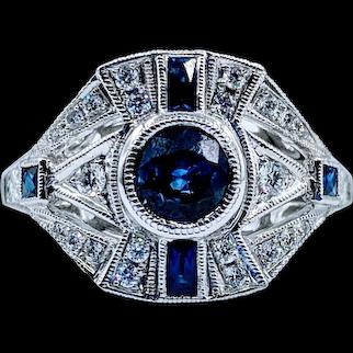 Gorgeous Sapphire & Diamond 18k Ring