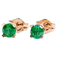Natural 3.5mm Round Emerald Stud Earrings