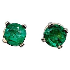 Untreated 3/8ctw Emerald Earring Studs