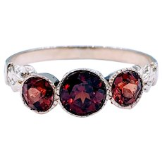 Antique Three Stone Garnet Ring