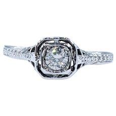 Elegant Art Deco Diamond Solitaire Ring