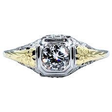 Sophisticated Antique Diamond & 18K Gold Ring