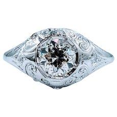 Stunning European Cut Diamond & Platinum Engagement Ring!