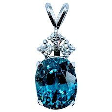 Flashy Blue Zircon & Diamond Pendant