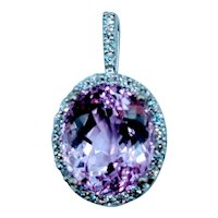 Unique 7.1ct Kunzite & Diamond Pendant