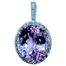 Unique 7.1ct Kunzite & Diamond Pendant