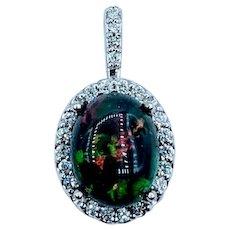 1.23ct Ethiopian Opal & Diamond Pendant