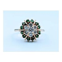 Vintage Emerald and Diamond Cocktail Ring Size 6