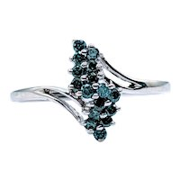 Natural Treated Blue Diamond Cocktail Ring