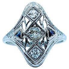 18k Antique Diamond and Sapphire Ring