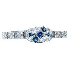 Art Deco Sapphire and Diamond Filigree Bracelet