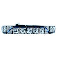 1920s Art Deco Platinum Diamond & Sapphire Bracelet
