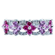 Gorgeous Pink Topaz & Diamond Band
