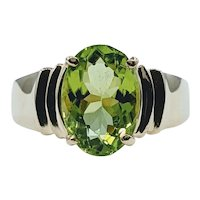 Retro Peridot & 14K Gold Cocktail Ring