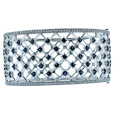 Open Lattice Sapphire and Diamond Cuff Bracelet