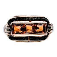 Vintage 3 Stone Square Cut Citrine Ring