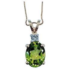Natural 1.71ct Peridot & Diamond Necklace