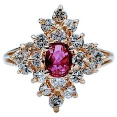 Gorgeous Ruby & Diamond Cluster Ring
