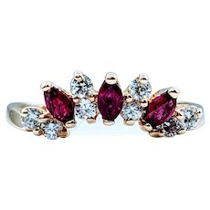Ruby and Diamond Curved Side Band 18k