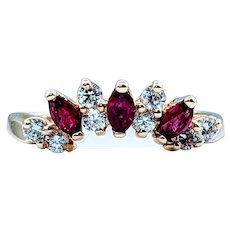 Ruby and Diamond Tiara Ring 18k