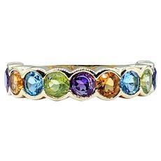 Cheerful Multi Gemstone Band Ring - 14K Gold