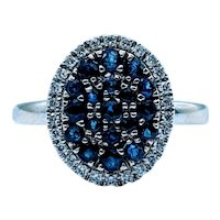Oval Shaped Sapphire and Diamond Halo Cocktail Ring