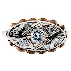 Unique Vintage .30ctw Diamond Right Hand Ring