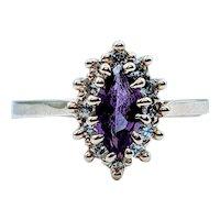 Lab Grown Purple Sapphire and Diamond Ring
