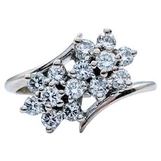 Double Floral Diamond Cocktail Ring