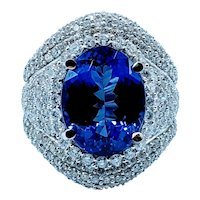 GIA Graded 6.08ct Tanzanite and Diamond Ring
