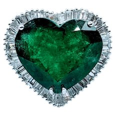 Huge 10.39ct Heart Cut Emerald and Diamond 18k Ring