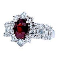 1.40ct GIA Graded Unheated Ruby & Diamond Platinum Ring