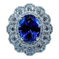 Amazing Platinum 5.21ct Tanzanite and Diamond Ring