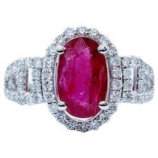 2.84ct Natural Ruby and Diamond Platinum Ring